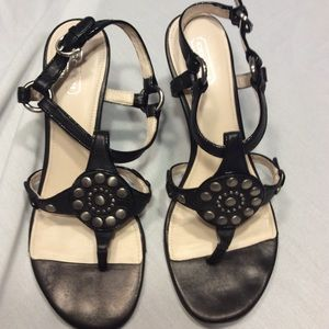 Coach Wedge Sandal Black Leather